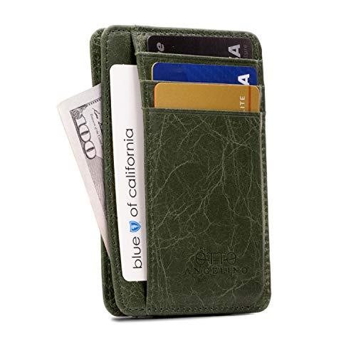 Otto Angelino Dünn Echtes Leder Kartenhalter Brieftasche für Männer - Mehrere Schlitze für Kredit, Lastschrift, Bank und Business-Karten, RFID-BLOCKEN (Grün)