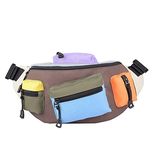 DKee Mochila para exteriores de tela Oxford, color contrastado, para hombre, bolsillos personales para teléfono móvil, multifunción, bolsa de pecho para deportes al aire libre (color: marrón)