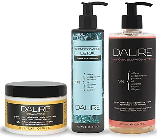 Pack AHORRO Rizos Plus Dalire. Champú nutritivo + Acondicionador + Crema nutritiva. Sin sulfatos, sin parabenos, sin tóxicos.