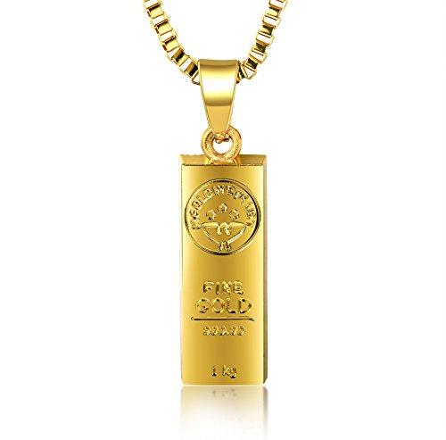 Halukakah ● In Gold We Trust ● Uomo Maschile 18K 18 Carati Placcato Oro Reale Barra di Oro Pendente Collana con Catena di Scatole Gratuita 30'