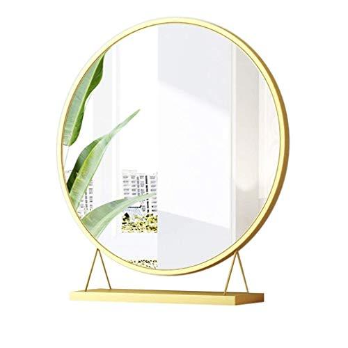 ZXC Home Miroir cosmétique Accueil Chambre Verre Bureau Simple Face Miroir de Maquillage Bureau des ménages Outils de Maquillage, Golden (Color : 50 * 10 * 50cm)