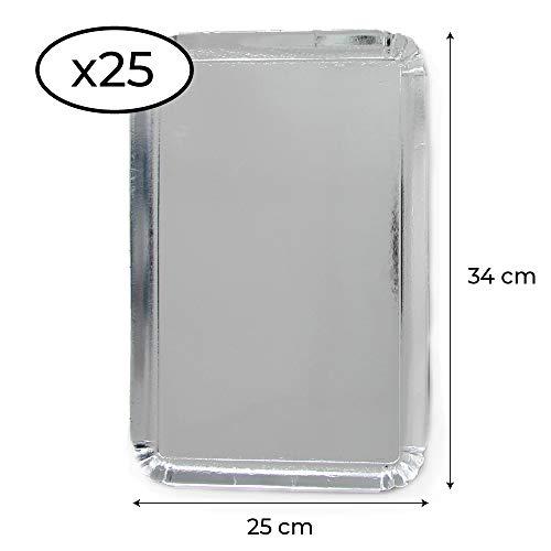 Extiff - Pack de 25 bandejas de cartón, 25 x 34 cm, bandejas de presentación para pastelería o Buffet frío (Plateado)