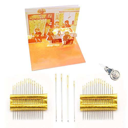 S-H Artisan-SH 36 Stück Handnähnadeln Sticknadeln, Nähnadelset mit Einem Einfädler zum Einfachen Einfädeln, Feine Nähnadeln Kann zum Sticken/Nähen/Stopfen Verwendet Werden