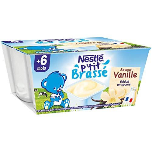 NESTLÉ Bébé - P'tit brassé - Vanille - Laitage dès 6 mois - 4 x 100g