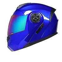 大人のフルフェイスヘルメット、DOT承認済み、快適なオートバイヘルメット、フリップダブルサンバイザー付きモジュラー、大人のフルフェイスオートバイヘルメット Blue~C,XL=59~60cm