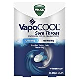 Vicks VapoCool Sore Throat Lozenge, Relieves Painful Sore Throat & Mouth, Maximum Numbing & Cooling, Fast-Acting Cough Drop, Winterfrost, 16ct