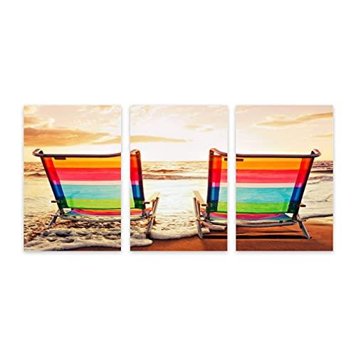 Pintura decorativa de arte de pared,Sillas de Hawai playa al atardecer, lienzo de arte moderno, decoración de pared del hogar para sala de estar, comedor, dormitorio, 7.9x11.8 pulgadas