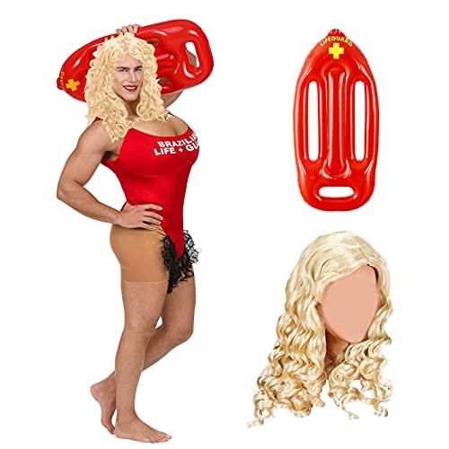 BeBuy24 Disfraz para despedida de soltero con peluca y ayuda de rescate hinchable