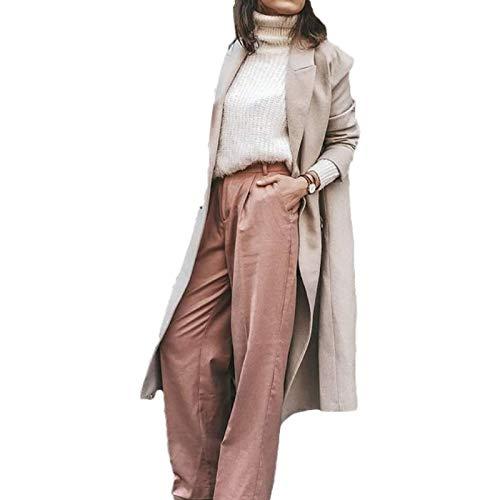 Pantalones Vaqueros Holgados Holgados de Color sólido para Mujer, Pantalones de Mezclilla Lavados Sueltos con Botones y Cintura Alta de Moda M