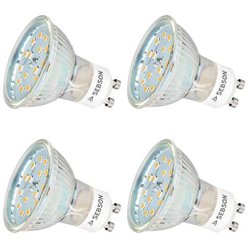 SEBSON® LED Lampe GU10 5W warmweiß 3000k, ersetzt 35W, 420lm, Ra97, 230V LED Leuchtmittel, Einbaustrahler flimmerfrei, 4er Pack