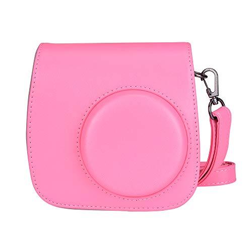 Estuche para cámara DaMo Instax para Fujifilm Instax Mini 9 / Mini 8 / Mini 8+ cámara con Correa de Hombro Suave Avanzada y paño de Limpieza (Flamingo Pink)