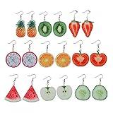 Baoyouls (9ペア)フルーツピアス ファッション、チャーム クリスマス 誕生日プレゼント かわいいアクリルのフルーツピアス、トマト、キウイ、オレンジなど
