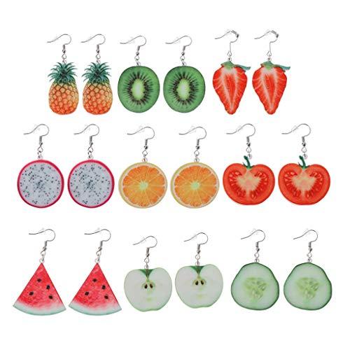 Pendientes colgantes de 9 pares de pendientes de acrílico con forma de gota de fruta y tomate kiwi y naranja