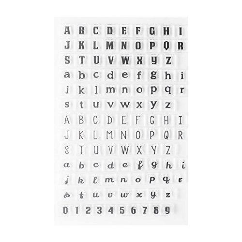Sellos de Silicona Letras del Alfabeto Números Sets de Sellado Niños Adulto DIY Craft Scrapbooking Tarjeta Que Hace Diario Álbum Decorar Papelería Herramienta(mayúscula + minúscula)