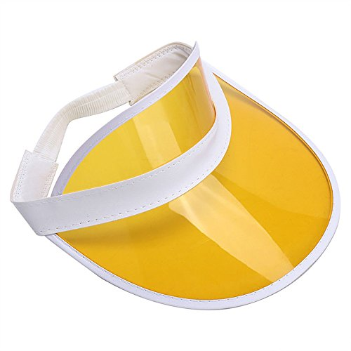 Clear Colored Plastic Sun Visor Tennis Beach Bingo Vegas Dealer Golf Casino Hat Yellow