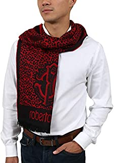 ESZ056 02000 Red Wool Blend Leopard Print Mens Scarf for Mens