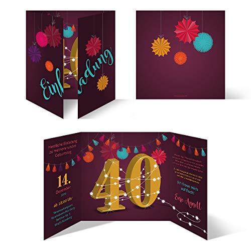 30 x Runder 40. Geburtstag individuelle Einladungskarten Einladungen - Girlande