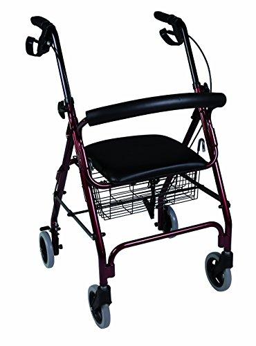 Herdegen - Andador rollator caminador con asiento y 4 ruedas; hecho de aluminio y con frenos, con cesta para transportar objetos o hacer la compra, altura regulable