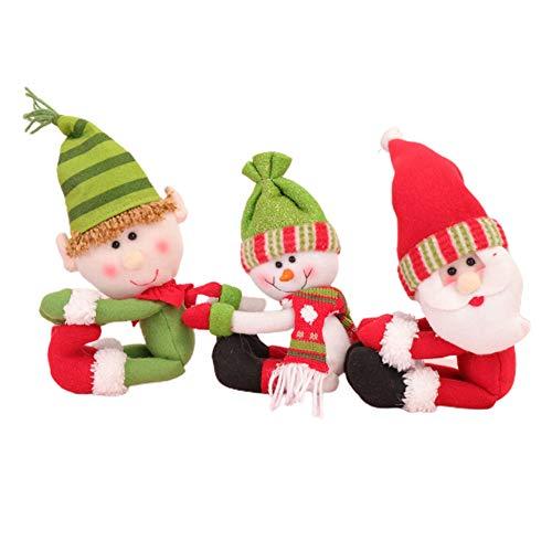 Yiyer Weihnachtsweinflaschenabdeckung Santa 3Pcs Weinflaschendeckel für Weihnachtsfeiertagsdekorationen