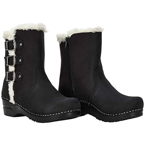 Sanita Everest Clog-Stiefel | Original handgemachte, Flexible Lederstiefel für Damen, Größe: 39, Schwarz