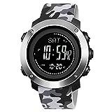 Orologio digitale con contapassi, orologio sportivo da uomo con bussola, barometro, temperatura,...