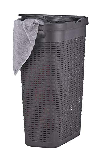 Laundry Hamper With Lid 115 Bushel Slim and Tall - Wicker Style Brown - Durable Laundry Basket with Cutout Handles - Dirty Cloths Storage in Bathroom or Bedroom Apartment Dorms By Superio
