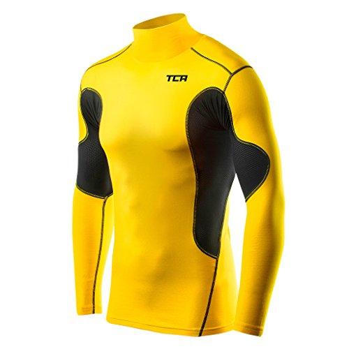 TCA SuperThermal Jungen Kompressionsshirt/Funktionsshirt mit Stehkragen - Langarm - Gelb/Schwarz, 128 (6-8 Jahre)