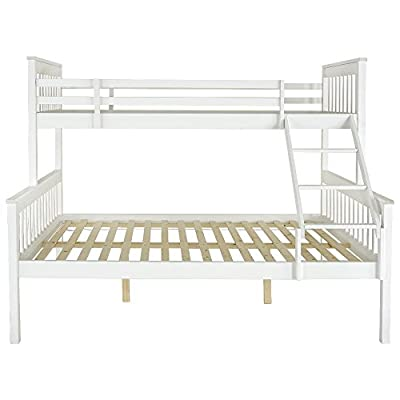 Boutiqhome Panana Detachable Bunk Beds Children's Bed Room Furniture, Single Top Double Base Bed, Solid Wooden Frame in White