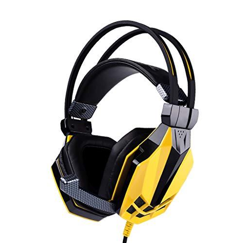 Hjd-Casque E-Sports Gaming Headset 7.1 Éclairage de Respiration à Del éblouissant multicanaux pour Manger des écouteurs de Poulet Jaune