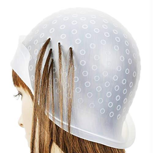 Cuffia Per Capelli Per Meches Colorazione Punte Pre Forate Completa Di Uncinetto Coloring Hair Hook Frosting Cap Highlighting Headgear Salon Hat Soft Silicone Dyeing