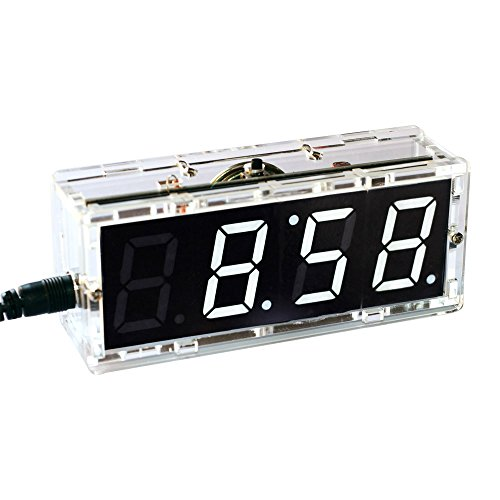 4-Digit Digital Clock Kits LED Talking Clock DIY kit with PCB for Soldering Practice Learning Electronics with English Instructions