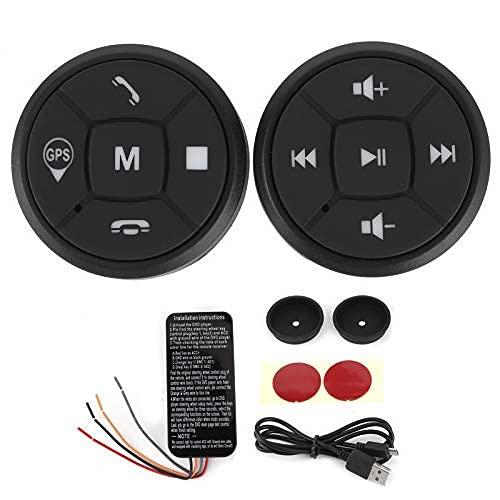 Botón Control Remoto Multimedia para Volante Portátil inalámbrico Bluetooth Control Remoto para automóvil Llamadas telefónicas Música Controlador GPS