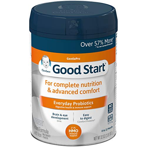 Gerber Good Start GentlePro (HMO) Non-GMO Powder Infant Formula, Stage 1, Gentle Baby Formula with Iron, 2'-FL HMO and Probiotics for Digestive Health and Immune System Support, 32 Ounce (Pack of 1)