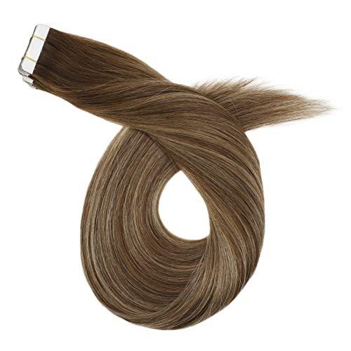 Ugeat Echt Haar Extensions Tape Stuck 40PCS 2.5GR Remi Tapes in Haarverlangerung mit Band Naturlich Glatt 50cm (Balayage Dunkelbraun bis Karmelblond und Braun #4/27/4)