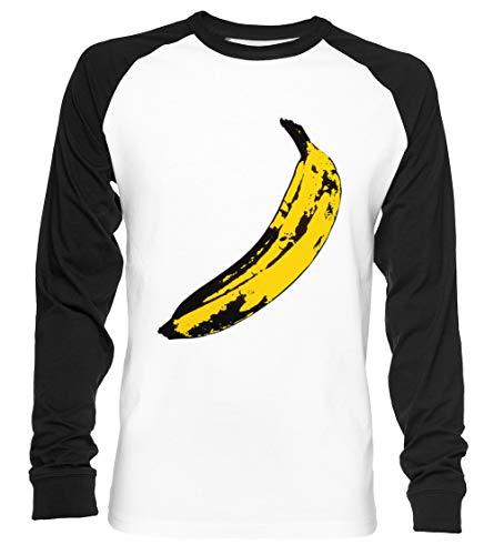 Groß Gelb Banane Unisex Baseball T-Shirt Langarm Herren Damen Weiß Schwarz