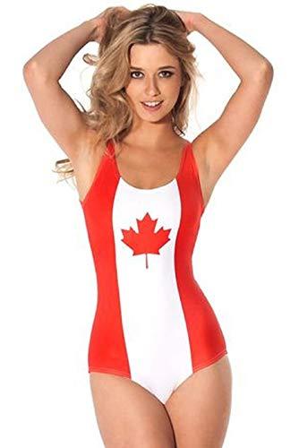 Damen Sexy Flagge von die Welt Tasse Brazilien USA UK England Kanada Italien Deutschland Badeanzug - Kanada, UK 8-10