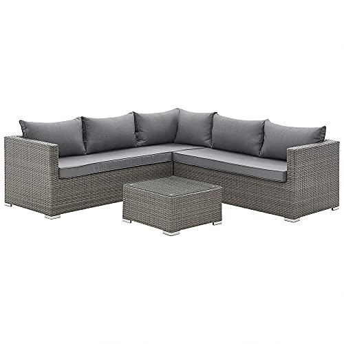 Grey Rattan Garden Furniture Set with Corner Sofa L Shape Sofa & Coffee Table Outdoor Patio Seating Set