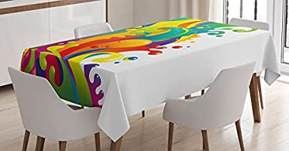 Ambesonne Psychedelic Tablecloth, Digital Made Fluid Rainbow Color Paint Splash Contemporary Psychedelic Design, Rectangular Table Cover for Dining Room Kitchen Decor, 60