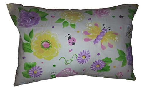 "PILLOW with PILLOWCASE, Butterflies and flowers Size 13""x 18"", throw pillow, neck or travel , bed , sofa, Girls , chair decor. Kids, Hypoallergenic , washable. Ready to use. Save$$"