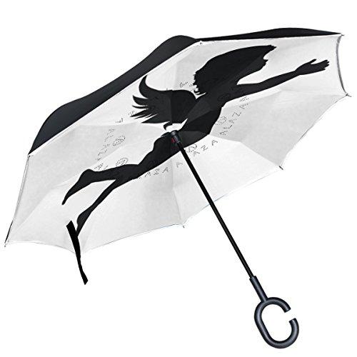 Alaza Black Angel Silhouette Regenschirm, doppelschichtig, winddicht, Weiß