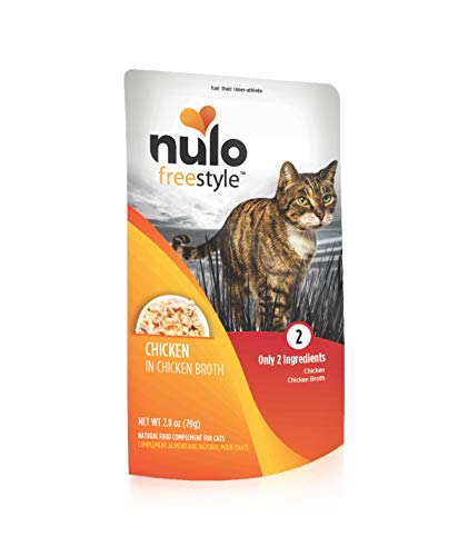 Nulo Freestyle Wet Cat Food, Chicken in Broth, 2.8 oz Pouches, Case of 24 - Natural, Grain-Free Cat Food with High Protein, Amino Acids for Heart Health - Premium Kitten, Senior Soft Food, Yellow