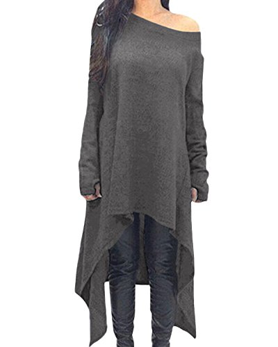 ZANZEA Damen Unregelmäßige Strick Oversize Langarm Pullikleid Longshirt Top Minikleid Grau EU 38-40/Etikettgröße M