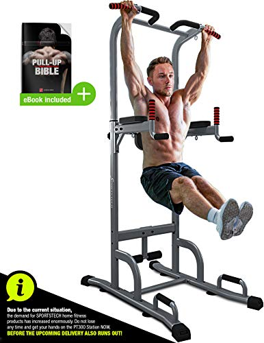 Sportstech 7in1 Power Tower PT300 as dip station, power tower & gymtower, multifunctional power station for home with pull-up bar, push-up and 4 eyelets for TRX, ropes & slings, sit-ups