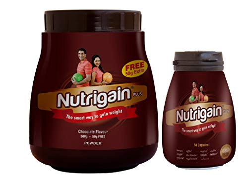 Nutrigain Combo Of Powder 500 Gm & 60 Capsules (Chocolate Flavor)