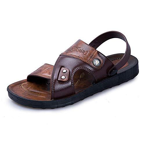 Czcrw Sandalias de los Hombres de Cuero Antideslizante Sandalias de Cuero de Moda Zapatos de Verano for Hombre Sandalia de Playa Romana Recreación al Aire Libre Zapatillas Cómodo