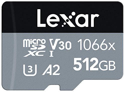 Lexar Professional 1066x 512GB microSDXC UHS-I Karte Silver Serie, Enthält SD-Adapter, Bis Zu 160MB/s Lesegeschwindigkeit (LMS1066512G-BNAAG)