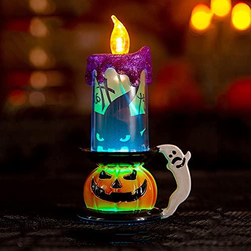 Decorazioni di Halloween Lanterna di candela di zucca Lanterna di zucca a batteria Appesa Luce notturna di Halloween Bomboniera per la decorazione della casa stregata di Halloween,A