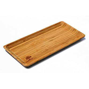 Johnny's Old Tree Rectangular Rustic Bamboo Serving Tray | Appetizer Platter | Natural Wooden Storage Tray (13.75L x 6.25W)