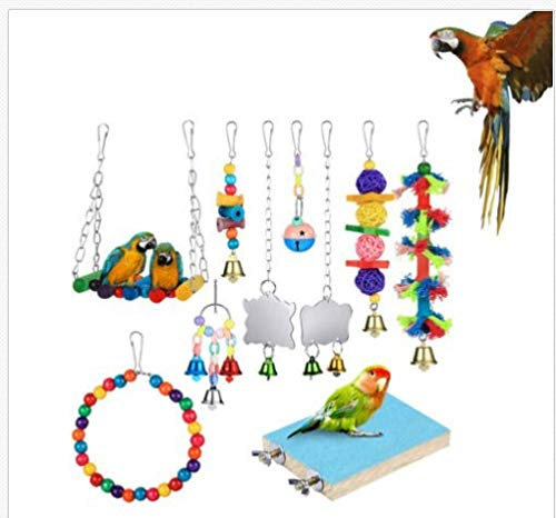 ZHRDRJB - Juego de 10 juguetes para loro y columpio para colgar, jaula de campana, hamaca para pequeños periquitos, cacatúas, loros, amor, pájaros, aletas