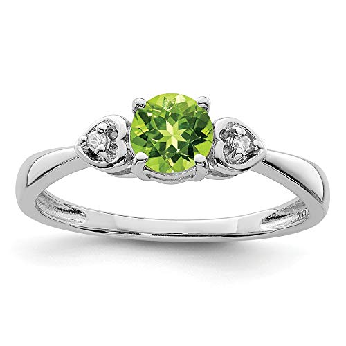925 Sterling Silver Diamond Green Peridot Round Band Ring Size 7.00 Gemstone Fine Jewellery For Women Gifts For Her